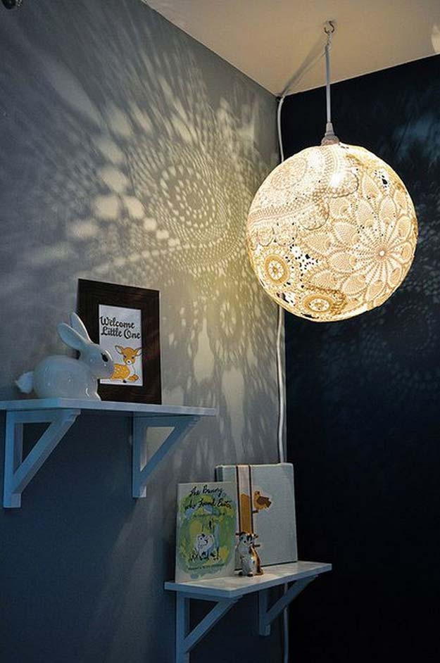 All White DIY Room Decor - DIY Doily Pendant Light - Creative Home Decor Ideas for the Bedroom and Teen Rooms - Do It Yourself Crafts and White Wall Art, Bedding, Curtains, Lamps, Lighting, Rugs and Accessories - Easy Room Decoration Ideas for Girls, Teens and Tweens - Cute DIY Gifts and Projects With Step by Step Tutorials and Instructions http://diyprojectsforteens.com/diy-room-decor-white