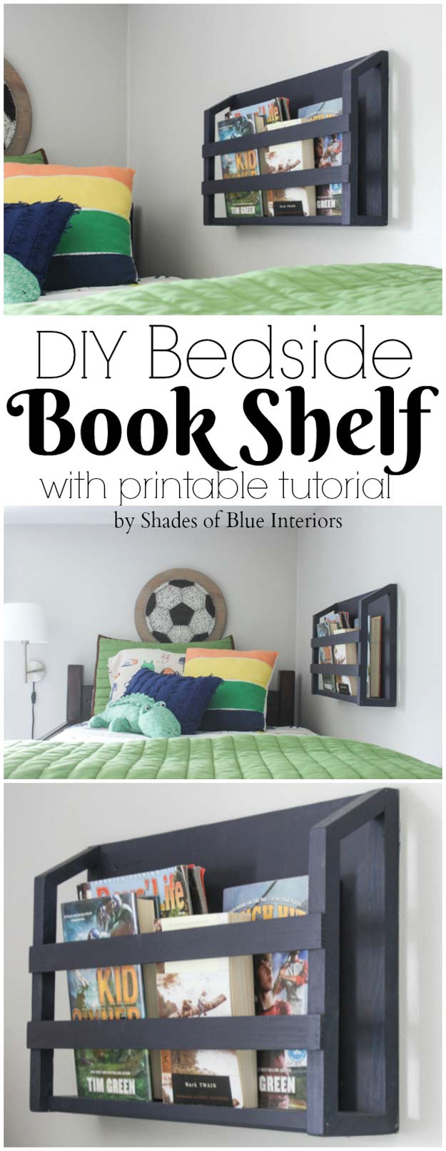 DIY Room Decor Ideas for Boys - - DIY Bedside Book Shelf - Teen Bedroom Decor Idea for Boy - Wall Art, Lighting, Lamps, Shelves, Bedding, Curtains and Rugs for Boy Rooms - Easy Step by Step Tutorials and Projects for Decorating Teens and Tweens Rooms http://diyprojectsforteens.com/diy-room-decor-boys