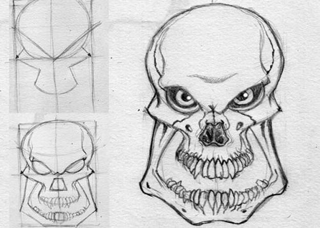 Cool Drawing Tutorials - How To Draw An Evil Skull - Learn How To Draw Animals, Easy People, Step by Step Drawing and Tutorial With Instructions - Creative Arts and Crafts Ideas for Teens - Shapes, Shading, Buildings, School Art Projects, Drawing for Beginners and Teenagers, Kids #drawing #art #drawingtutorials