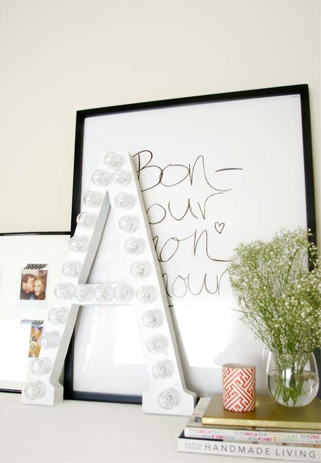 All White DIY Room Decor - DIY Marquee Letters from Cardboard - Creative Home Decor Ideas for the Bedroom and Teen Rooms - Do It Yourself Crafts and White Wall Art, Bedding, Curtains, Lamps, Lighting, Rugs and Accessories - Easy Room Decoration Ideas for Girls, Teens and Tweens - Cute DIY Gifts and Projects With Step by Step Tutorials and Instructions http://diyprojectsforteens.com/diy-room-decor-white