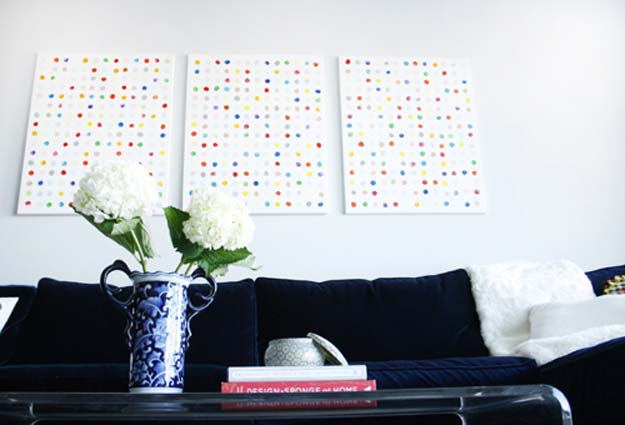 All White DIY Room Decor - DIY Happy Dots Wall Art - Creative Home Decor Ideas for the Bedroom and Teen Rooms - Do It Yourself Crafts and White Wall Art, Bedding, Curtains, Lamps, Lighting, Rugs and Accessories - Easy Room Decoration Ideas for Girls, Teens and Tweens - Cute DIY Gifts and Projects With Step by Step Tutorials and Instructions http://diyprojectsforteens.com/diy-room-decor-white
