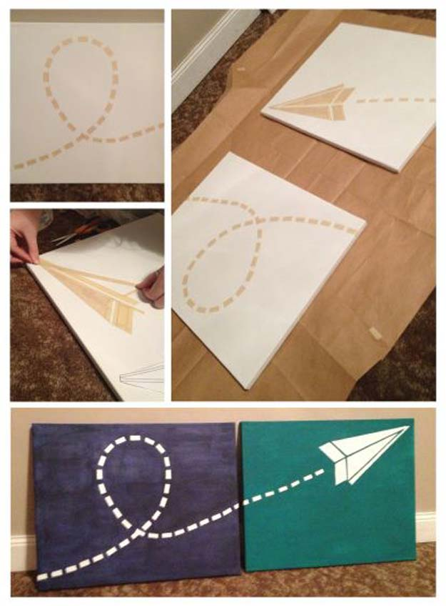 DIY Room Decor Ideas for Boys - - Paper Airplane Canvas - Teen Bedroom Decor Idea for Boy - Wall Art, Lighting, Lamps, Shelves, Bedding, Curtains and Rugs for Boy Rooms - Easy Step by Step Tutorials and Projects for Decorating Teens and Tweens Rooms http://diyprojectsforteens.com/diy-room-decor-boys
