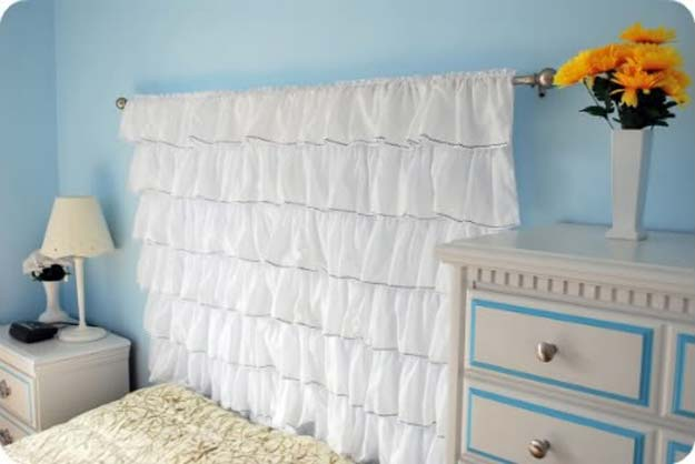 All White DIY Room Decor - DIY Ruffled Headboard - Creative Home Decor Ideas for the Bedroom and Teen Rooms - Do It Yourself Crafts and White Wall Art, Bedding, Curtains, Lamps, Lighting, Rugs and Accessories - Easy Room Decoration Ideas for Girls, Teens and Tweens - Cute DIY Gifts and Projects With Step by Step Tutorials and Instructions http://diyprojectsforteens.com/diy-room-decor-white
