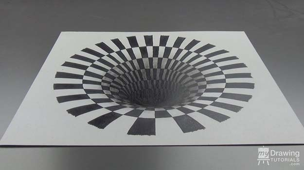 Cool Drawing Tutorials - How To Draw A 3D Hole Optical Illusion Art Illustrations- Learn How To Draw Animals, Easy People, Step by Step Drawing and Tutorial With Instructions - Creative Arts and Crafts Ideas for Teens - Shapes, Shading, Buildings, School Art Projects, Drawing for Beginners and Teenagers, Kids http://diyprojectsforteens.com/cool-drawing-tutorials