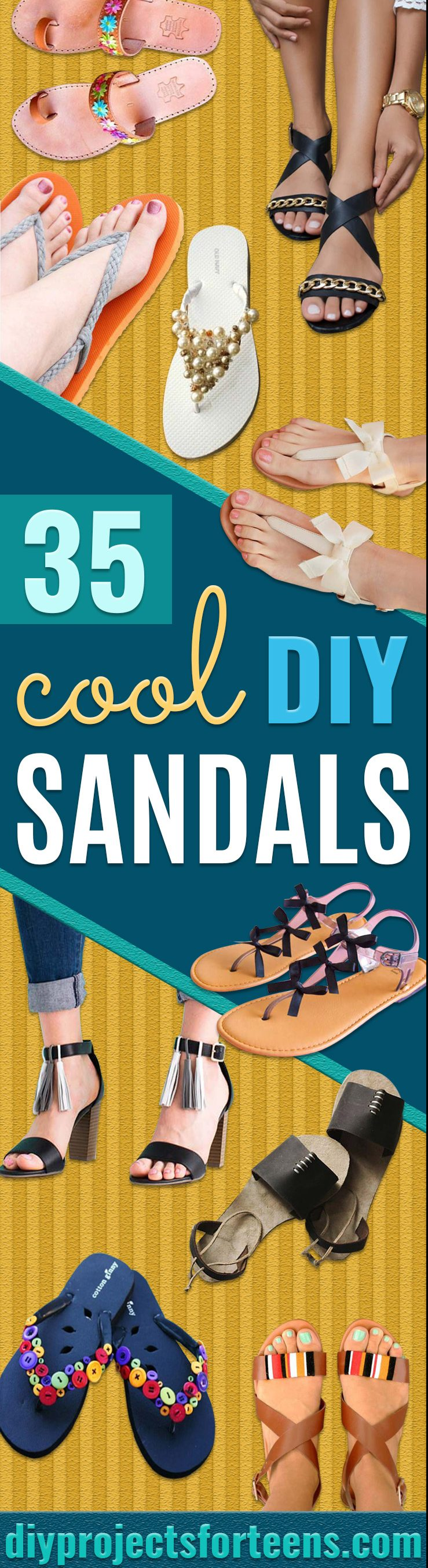 DIY Sandals and Flip Flops - Simple Yet Chic DIY Shoes - Creative, Cool and Easy Ways to Make or Update Your Shoes - Decorate Flip Flops with Cheap Dollar Store Crafts and Ideas - Beaded, Leather, Strappy and Painted Sandal Projects - Fun DIY Projects and Crafts for Teens and Teenagers