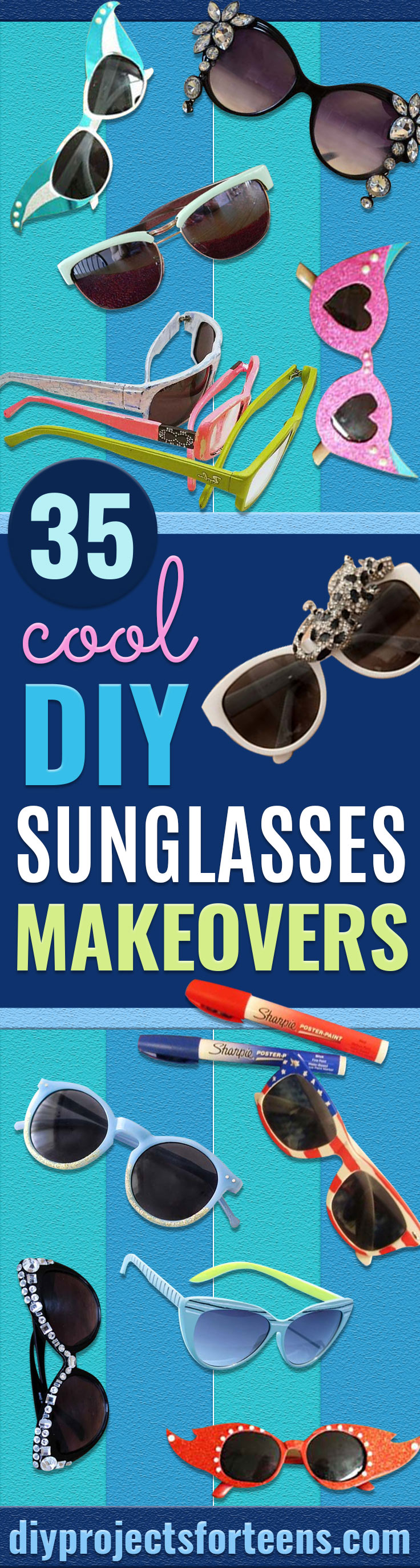 DIY Sunglasses Makeovers - Fun Ways to Decorate and Embellish Sunglasses - Embroider, Paint, Add Jewels and Glitter to Your Shades - Cheap and Easy Projects and Crafts for Teens http://diyprojectsforteens.com/diy-sunglasses-makeovers