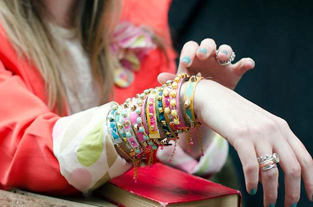 DIY Bracelets - Leather and Fabric Studded Bracelets - Cool Jewelry Making Tutorials for Making Bracelets at Home - Handmade Bracelet Crafts and Easy DIY Gift for Teens, Girls and Women - With String, Wire, Leather, Beaded, Bangle, Braided, Boho, Modern and Friendship - Cheap and Quick Homemade Jewelry Ideas