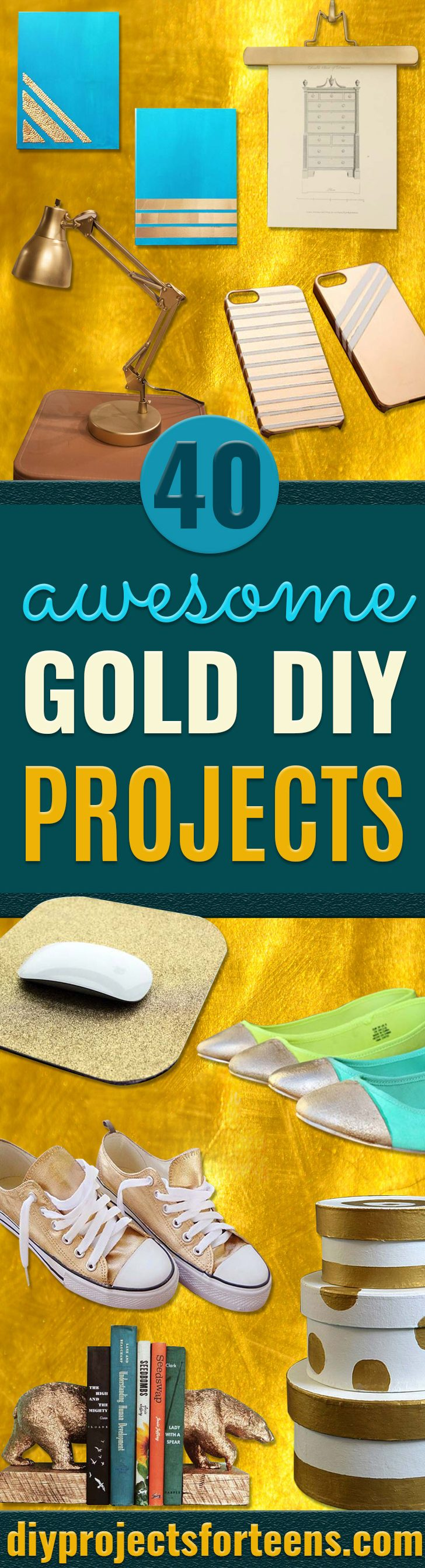 Gold DIY Projects and Crafts - Easy Room Decor, Wall Art and Accessories in Gold - Spray Paint, Painted Ideas, Creative and Cheap Home Decor - Projects and Crafts for Teens, Apartments, Adults and Teenagers