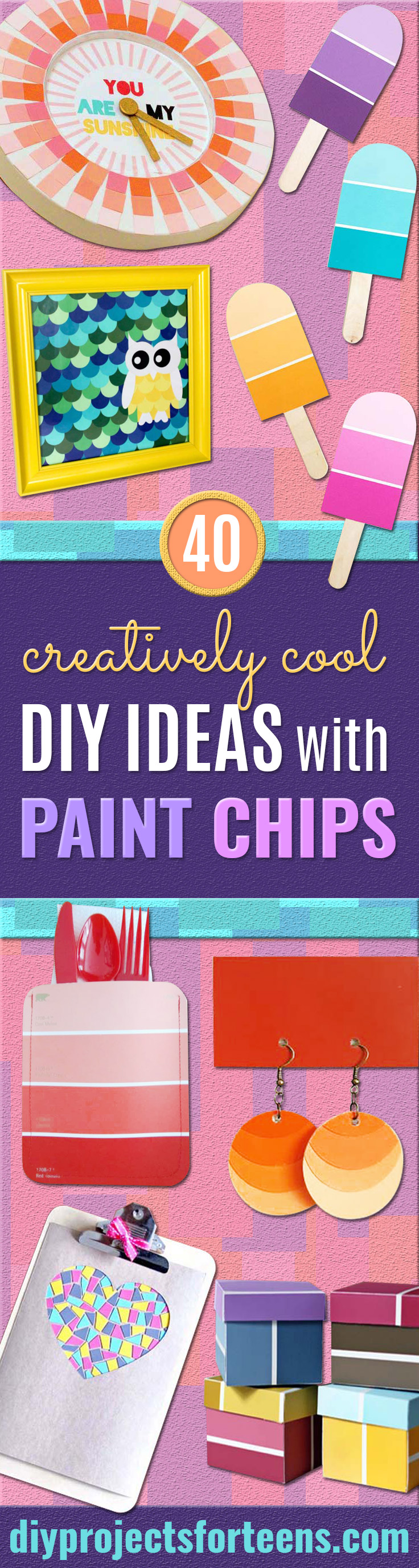 DIY Projects Made With Paint Chips - Best Creative Crafts, Easy DYI Projects You Can Make With Paint Chips - Cool and Crafty How To and Project Tutorials - Crafty DIY Home Decor Ideas That Make Awesome DIY Gifts and Christmas Presents for Friends and Family http://diyjoy.com/diy-projects-paint-chips