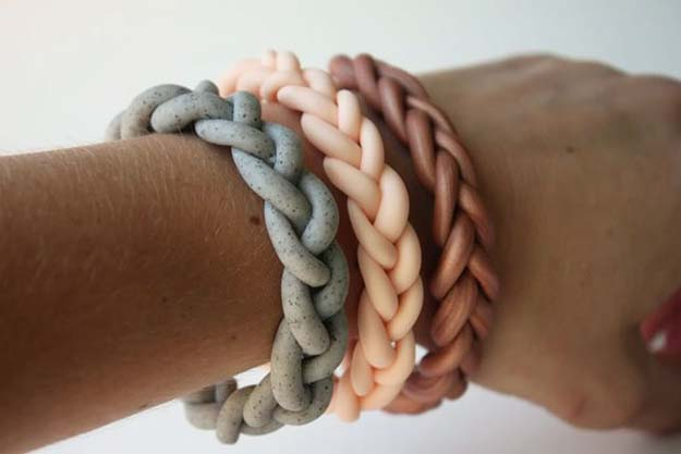 DIY Bracelets - Braided Clay Bracelet - Cool Jewelry Making Tutorials for Making Bracelets at Home - Handmade Bracelet Crafts and Easy DIY Gift for Teens, Girls and Women - With String, Wire, Leather, Beaded, Bangle, Braided, Boho, Modern and Friendship - Cheap and Quick Homemade Jewelry Ideas