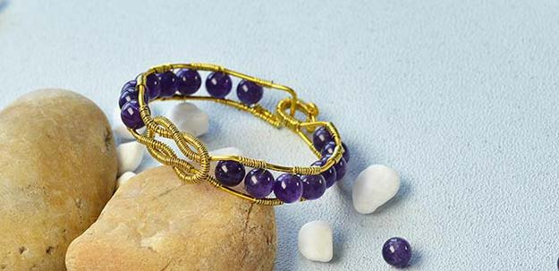 DIY Bracelets - Wire Wrapped Amethyst Beads Bangle Bracelet - Cool Jewelry Making Tutorials for Making Bracelets at Home - Handmade Bracelet Crafts and Easy DIY Gift for Teens, Girls and Women - With String, Wire, Leather, Beaded, Bangle, Braided, Boho, Modern and Friendship - Cheap and Quick Homemade Jewelry Ideas