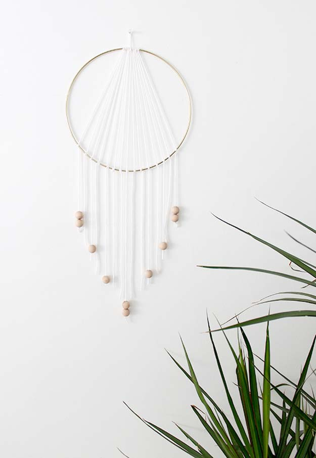 All White DIY Room Decor - DIY Modern Dreamcatcher - Creative Home Decor Ideas for the Bedroom and Teen Rooms - Do It Yourself Crafts and White Wall Art, Bedding, Curtains, Lamps, Lighting, Rugs and Accessories - Easy Room Decoration Ideas for Girls, Teens and Tweens - Cute DIY Gifts and Projects With Step by Step Tutorials and Instructions http://diyprojectsforteens.com/diy-room-decor-white
