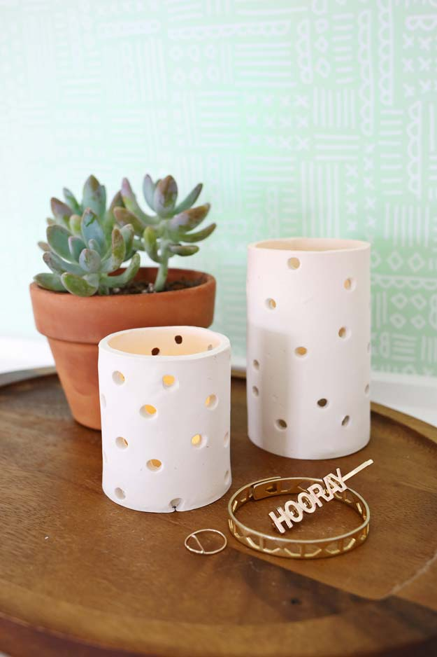 All White DIY Room Decor - DIY Easy Clay Votive - Creative Home Decor Ideas for the Bedroom and Teen Rooms - Do It Yourself Crafts and White Wall Art, Bedding, Curtains, Lamps, Lighting, Rugs and Accessories - Easy Room Decoration Ideas for Girls, Teens and Tweens - Cute DIY Gifts and Projects With Step by Step Tutorials and Instructions http://diyprojectsforteens.com/diy-room-decor-white