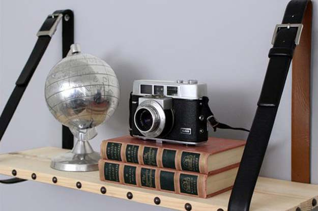 DIY Room Decor Ideas for Boys - - Leather and Wood Suspended Shelf - Teen Bedroom Decor Idea for Boy - Wall Art, Lighting, Lamps, Shelves, Bedding, Curtains and Rugs for Boy Rooms - Easy Step by Step Tutorials and Projects for Decorating Teens and Tweens Rooms http://diyprojectsforteens.com/diy-room-decor-boys