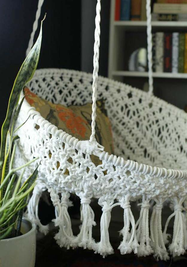All White DIY Room Decor - DIY Hanging Macrame Chair - Creative Home Decor Ideas for the Bedroom and Teen Rooms - Do It Yourself Crafts and White Wall Art, Bedding, Curtains, Lamps, Lighting, Rugs and Accessories - Easy Room Decoration Ideas for Girls, Teens and Tweens - Cute DIY Gifts and Projects With Step by Step Tutorials and Instructions http://diyprojectsforteens.com/diy-room-decor-white
