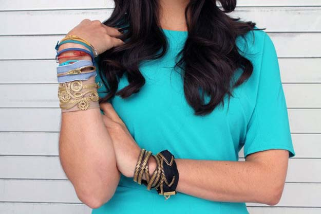 DIY Bracelets - Zipper Bracelets - Cool Jewelry Making Tutorials for Making Bracelets at Home - Handmade Bracelet Crafts and Easy DIY Gift for Teens, Girls and Women - With String, Wire, Leather, Beaded, Bangle, Braided, Boho, Modern and Friendship - Cheap and Quick Homemade Jewelry Ideas