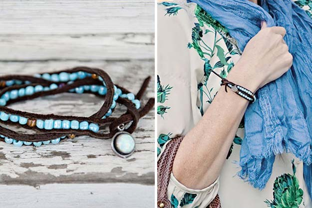 DIY Bracelets - Beaded Leather Bracelet - Cool Jewelry Making Tutorials for Making Bracelets at Home - Handmade Bracelet Crafts and Easy DIY Gift for Teens, Girls and Women - With String, Wire, Leather, Beaded, Bangle, Braided, Boho, Modern and Friendship - Cheap and Quick Homemade Jewelry Ideas