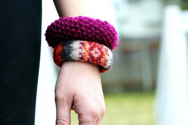 DIY Bracelets - Sweater Bangles - Cool Jewelry Making Tutorials for Making Bracelets at Home - Handmade Bracelet Crafts and Easy DIY Gift for Teens, Girls and Women - With String, Wire, Leather, Beaded, Bangle, Braided, Boho, Modern and Friendship - Cheap and Quick Homemade Jewelry Ideas