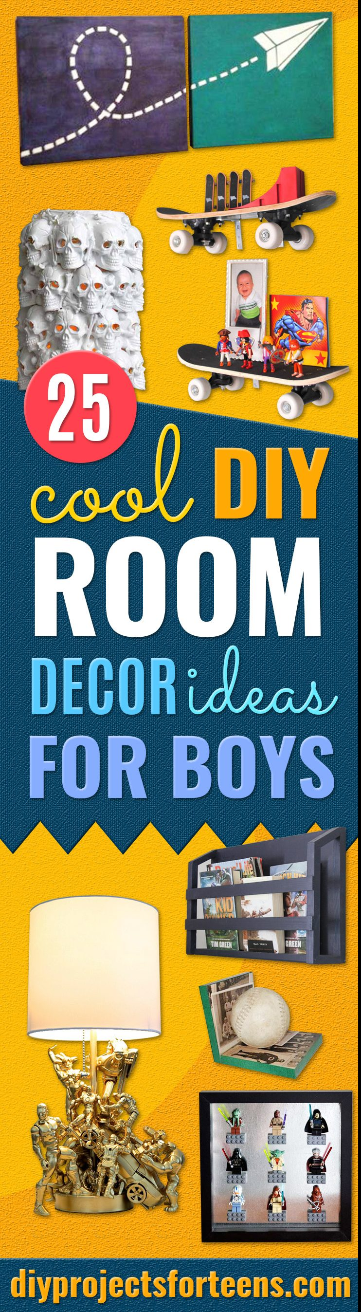 DIY Room Decor Ideas for Boys- Teen Boy Bedroom Decorating Ideas Pinterest - Cheap and Cool Ways to Decorate Boys Room in House - DYI Tutorial and Projects for Wall Art, Bedding, Tabletop decor, shelves, rugs, lamps