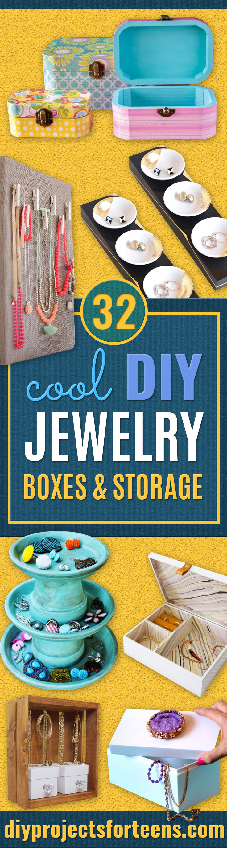 DIY Jewelry Storage - Do It Yourself Crafts and Projects for Organizing, Storing and Displaying Jewelry - Earrings, Rings, Necklaces - Jewelry Tree, Boxes, Hangers - Cheap and Easy Ways To Organize Jewelry in Bedroom and Bathroom - Dollar Store Crafts and Cheap Ideas for Decorating http://diyprojectsforteens.com/diy-jewelry-storage