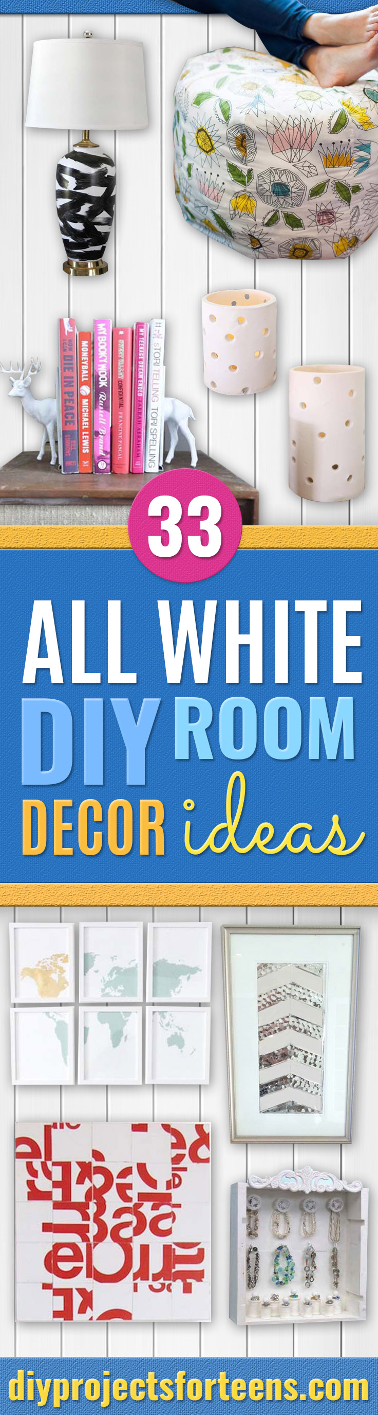All White DIY Room Decor - Creative Home Decor Ideas for the Bedroom and Teen Rooms - Do It Yourself Crafts and White Wall Art, Bedding, Curtains, Lamps, Lighting, Rugs and Accessories - Easy Room Decoration Ideas for Girls, Teens and Tweens - Cute DIY Gifts and Projects With Step by Step Tutorials and Instructions http://diyprojectsforteens.com/diy-room-decor-white