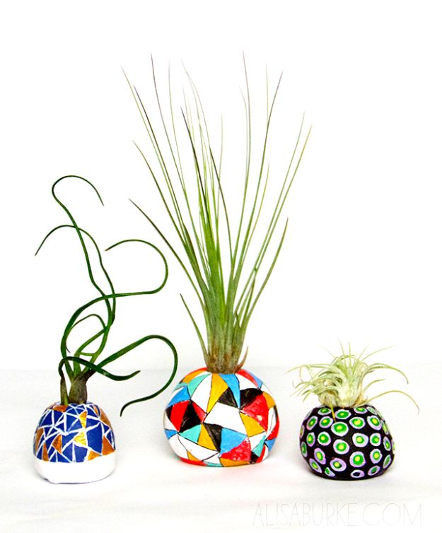 Creative Bedroom Ideas for Teens and Teenagers - Air Plant Pots Tutorial - Best Cool Crafts, Bedroom Accessories, Lighting, Wall Art, Creative Arts and Crafts Projects, Rugs, Pillows, Curtains, Lamps and Lights - Easy and Cheap Do It Yourself Ideas for Teen Bedrooms and Play Rooms #teencrafts #diydecor #roomideas #teenrooms #teendecor #diyideas