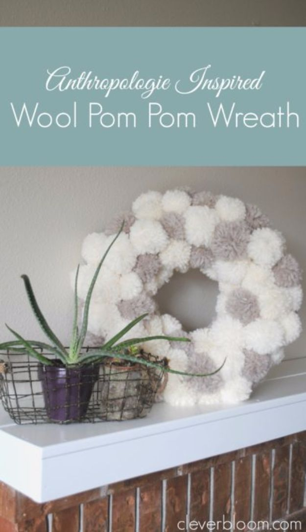 Easy Crafts for Teens - Anthropologie Inspired Wool Pom Pom Wreath - Cheap and Easy DIY Projects for Teenagers - Learn Basic Craft Techniques and Tutorials for Learning The Basics for Do It Yourself Projects and Fun Crafts - Easy Step by Step Tutorials for Making Pom Poms, Using a Glue Gun, Painting How To and More - Cool Ideas for Teens, Teenagers and Adults - Cheap Arts and Crafts Ideas and Tips http://diyprojectsforteens.com/diy-skills-tutorials