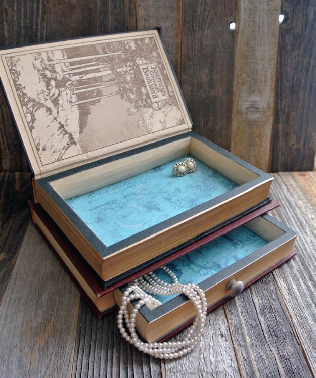 DIY Jewelry Storage - Antique Books Repurposed as Elegant Jewelry Boxes - Do It Yourself Crafts and Projects for Organizing, Storing and Displaying Jewelry - Earrings, Rings, Necklaces - Jewelry Tree, Boxes, Hangers - Cheap and Easy Ways To Organize Jewelry in Bedroom and Bathroom - Dollar Store Crafts and Cheap Ideas for Decorating http://diyprojectsforteens.com/diy-jewelry-storage
