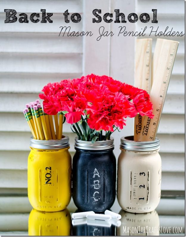 Best DIY Ideas for Teens To Make This Summer - Back To School Mason Jar Pencil Holders - Fun and Easy Crafts, Room Decor, Toys and Craft Projects to Make And Sell - Cool Gifts for Friends, Awesome Things To Do When You Are Bored - Teenagers - Boys and Girls Love Making These Creative Projects With Step by Step Tutorials and Instructions #diyideas #summer #teencrafts #crafts