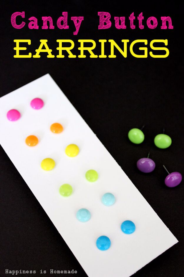 Best DIY Ideas for Teens To Make This Summer - Candy Button Dot Earrings - Fun and Easy Crafts, Room Decor, Toys and Craft Projects to Make And Sell - Cool Gifts for Friends, Awesome Things To Do When You Are Bored - Teenagers - Boys and Girls Love Making These Creative Projects With Step by Step Tutorials and Instructions #diyideas #summer #teencrafts #crafts