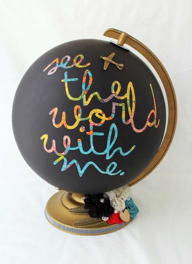 Best DIY Room Decor Ideas for Teens and Teenagers - Chalkboard Globe - Best Cool Crafts, Bedroom Accessories, Lighting, Wall Art, Creative Arts and Crafts Projects, Rugs, Pillows, Curtains, Lamps and Lights - Easy and Cheap Do It Yourself Ideas for Teen Bedrooms and Play Rooms http://diyprojectsforteens.com/diy-room-decor-ideas-teens