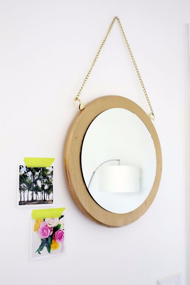 Best DIY Room Decor Ideas for Teens and Teenagers - Circle Chain Mirror DIY - Best Cool Crafts, Bedroom Accessories, Lighting, Wall Art, Creative Arts and Crafts Projects, Rugs, Pillows, Curtains, Lamps and Lights - Easy and Cheap Do It Yourself Ideas for Teen Bedrooms and Play Rooms http://diyprojectsforteens.com/diy-room-decor-ideas-teens
