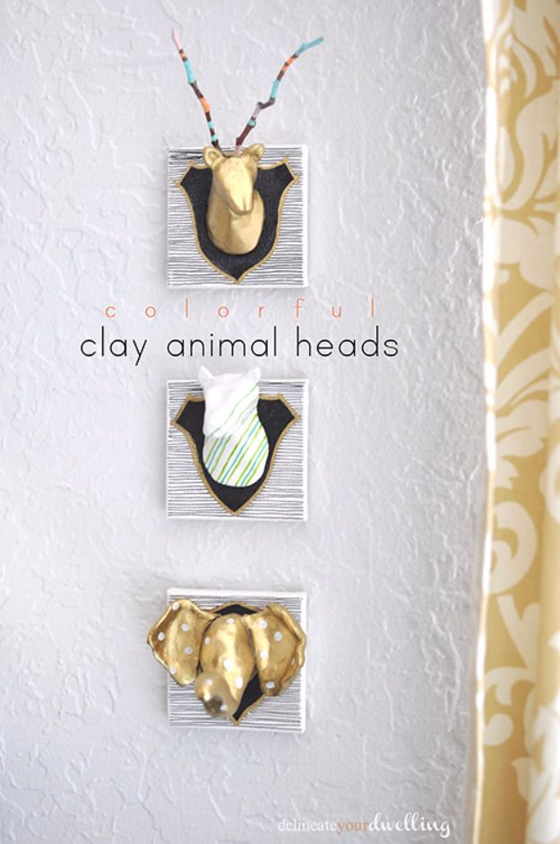 Best DIY Room Decor Ideas for Teens and Teenagers - Colorful Clay Animal Heads - Best Cool Crafts, Bedroom Accessories, Lighting, Wall Art, Creative Arts and Crafts Projects, Rugs, Pillows, Curtains, Lamps and Lights - Easy and Cheap Do It Yourself Ideas for Teen Bedrooms and Play Rooms http://diyprojectsforteens.com/diy-room-decor-ideas-teens