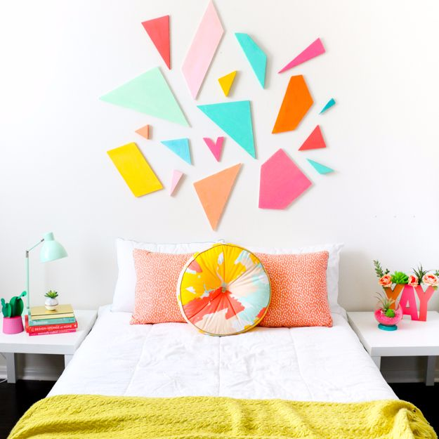 Easy DIY Room Decor Ideas for Teens and Teenagers - Inexpensive Colorful Geometric Headboard for Girls or Boys- Best Cool Crafts, Bedroom Accessories, Lighting, Wall Art, Creative Arts and Crafts Projects, Rugs, Pillows, Curtains, Lamps and Lights - Easy DIY Headboard Ideas for Teen Rooms
