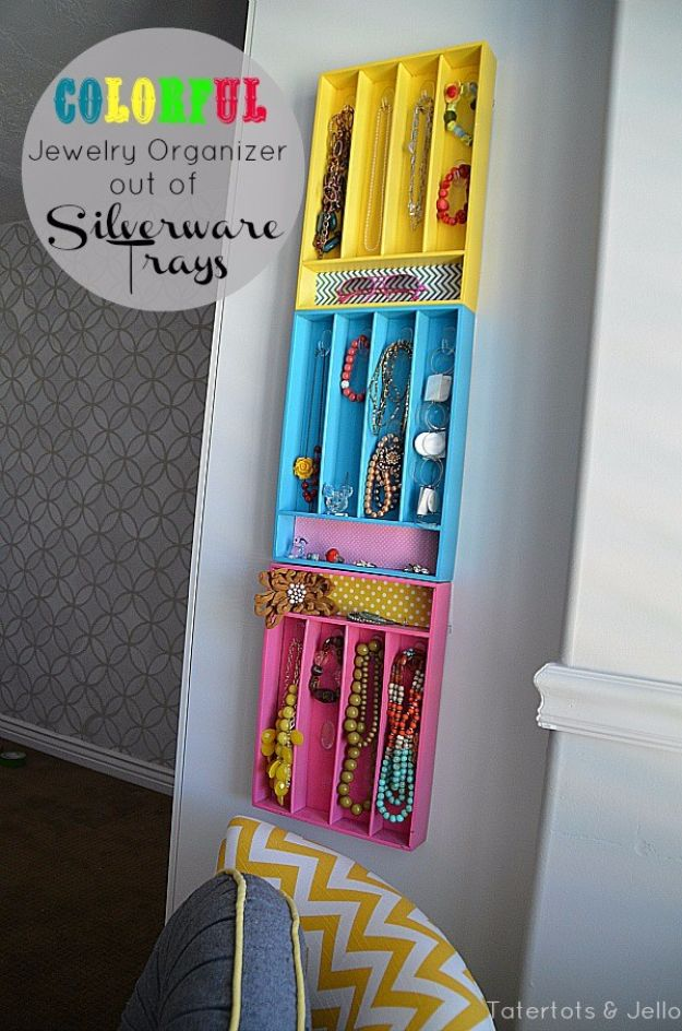 DIY Jewelry Storage - Colorful Jewelry Organizers From Silverware Trays - Do It Yourself Crafts and Projects for Organizing, Storing and Displaying Jewelry - Earrings, Rings, Necklaces - Jewelry Tree, Boxes, Hangers - Cheap and Easy Ways To Organize Jewelry in Bedroom and Bathroom - Dollar Store Crafts and Cheap Ideas for Decorating http://diyprojectsforteens.com/diy-jewelry-storage