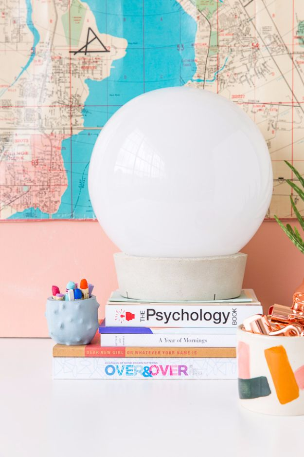 Best DIY Room Decor Ideas for Teens and Teenagers - Concrete Globe Table Lamp - Best Cool Crafts, Bedroom Accessories, Lighting, Wall Art, Creative Arts and Crafts Projects, Rugs, Pillows, Curtains, Lamps and Lights - Easy and Cheap Do It Yourself Ideas for Teen Bedrooms and Play Rooms #teencrafts #diydecor #roomideas #teenrooms #teendecor #diyideas