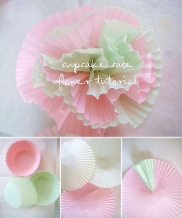 Easy Crafts for Teens - Cupcake Case Flowers - Cheap and Easy DIY Projects for Teenagers - Learn Basic Craft Techniques and Tutorials for Learning The Basics for Do It Yourself Projects and Fun Crafts - Easy Step by Step Tutorials for Making Pom Poms, Using a Glue Gun, Painting How To and More - Cool Ideas for Teens, Teenagers and Adults - Cheap Arts and Crafts Ideas and Tips http://diyprojectsforteens.com/diy-skills-tutorials