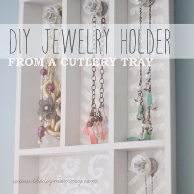 DIY Jewelry Storage - Cutlery Tray Jewelry Holder - Do It Yourself Crafts and Projects for Organizing, Storing and Displaying Jewelry - Earrings, Rings, Necklaces - Jewelry Tree, Boxes, Hangers - Cheap and Easy Ways To Organize Jewelry in Bedroom and Bathroom - Dollar Store Crafts and Cheap Ideas for Decorating