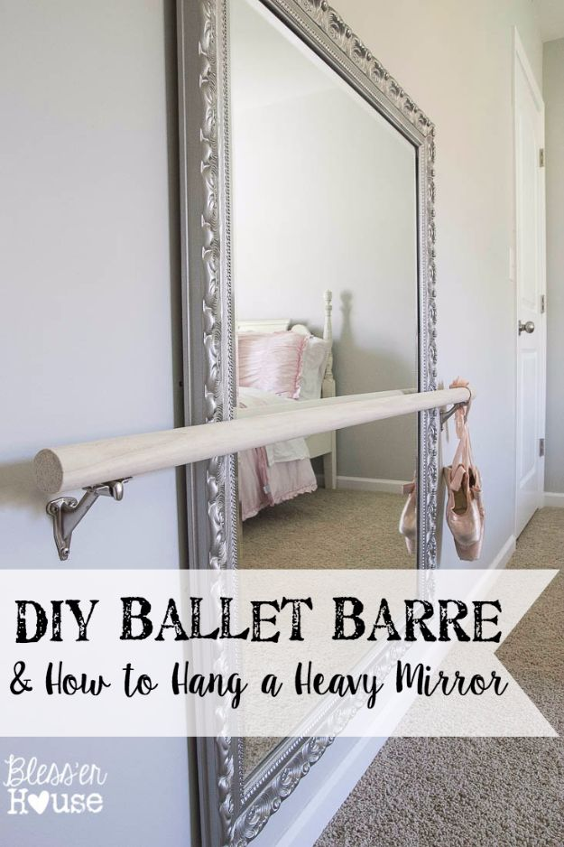 Best DIY Room Decor Ideas for Teens and Teenagers - DIY Ballet Barre - Best Cool Crafts, Bedroom Accessories, Lighting, Wall Art, Creative Arts and Crafts Projects, Rugs, Pillows, Curtains, Lamps and Lights - Easy and Cheap Do It Yourself Ideas for Teen Bedrooms and Play Rooms #teencrafts #diydecor #roomideas #teenrooms #teendecor #diyideas