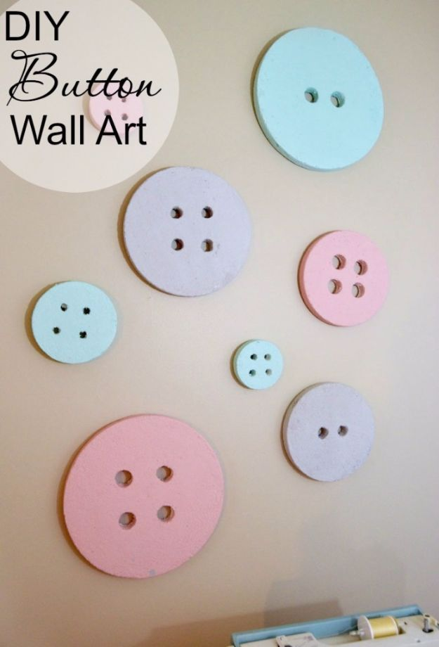 Best DIY Room Decor Ideas for Teens and Teenagers - DIY Button Wall Art - Best Cool Crafts, Bedroom Accessories, Lighting, Wall Art, Creative Arts and Crafts Projects, Rugs, Pillows, Curtains, Lamps and Lights - Easy and Cheap Do It Yourself Ideas for Teen Bedrooms and Play Rooms #teencrafts #diydecor #roomideas #teenrooms #teendecor #diyideas