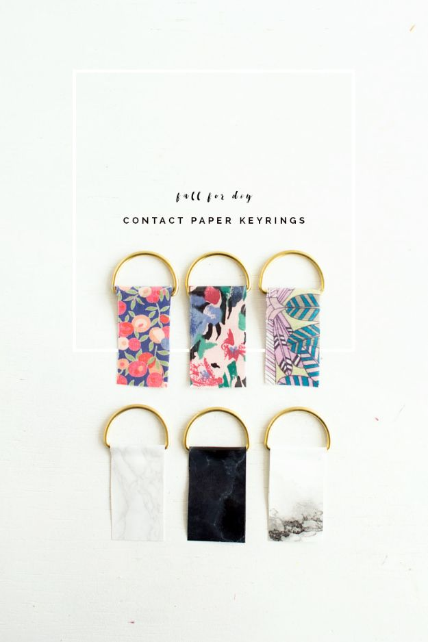 Easy Crafts for Teens - DIY Contact Paper Keyrings - Cheap and Easy DIY Projects for Teenagers - Learn Basic Craft Techniques and Tutorials for Learning The Basics for Do It Yourself Projects and Fun Crafts - Easy Step by Step Tutorials for Making Pom Poms, Using a Glue Gun, Painting How To and More - Cool Ideas for Teens, Teenagers and Adults - Cheap Arts and Crafts Ideas and Tips