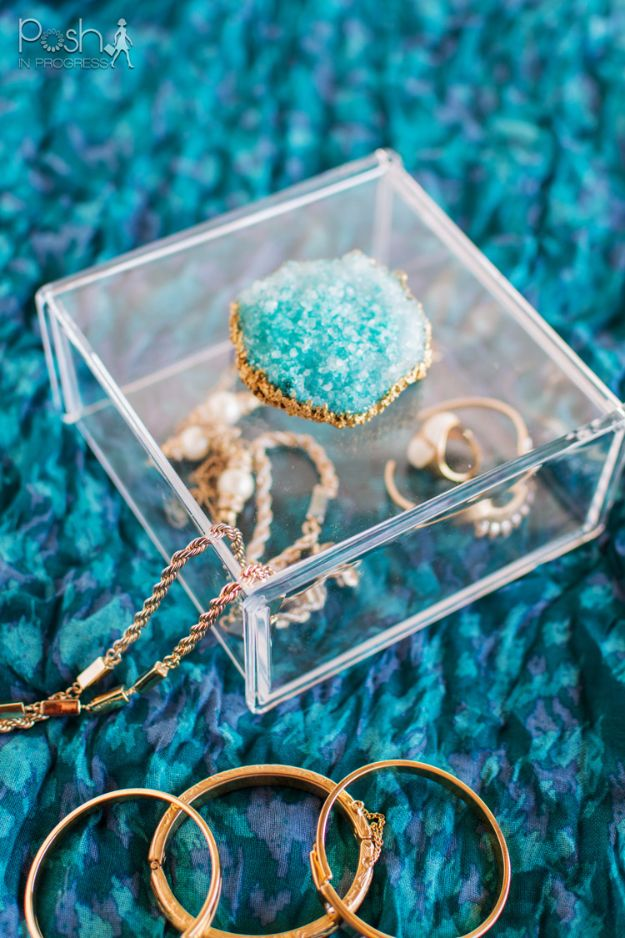DIY Jewelry Storage - DIY Crystal Geode Jewelry Box - Do It Yourself Crafts and Projects for Organizing, Storing and Displaying Jewelry - Earrings, Rings, Necklaces - Jewelry Tree, Boxes, Hangers - Cheap and Easy Ways To Organize Jewelry in Bedroom and Bathroom - Dollar Store Crafts and Cheap Ideas for Decorating