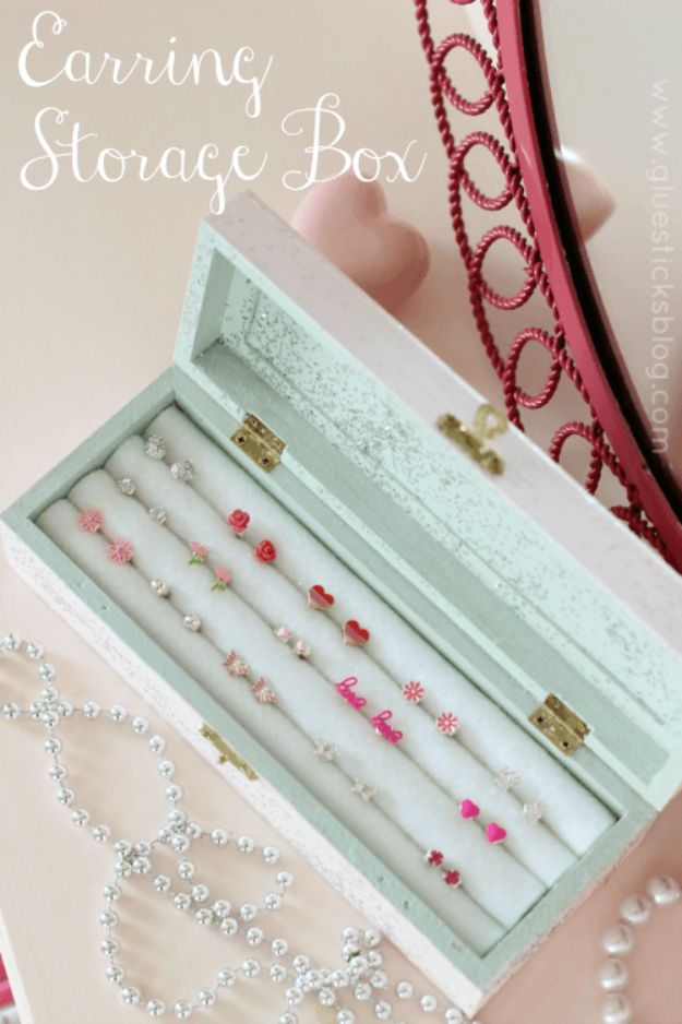 DIY Jewelry Storage - DIY Earring Storage Box - Do It Yourself Crafts and Projects for Organizing, Storing and Displaying Jewelry - Earrings, Rings, Necklaces - Jewelry Tree, Boxes, Hangers - Cheap and Easy Ways To Organize Jewelry in Bedroom and Bathroom - Dollar Store Crafts and Cheap Ideas for Decorating