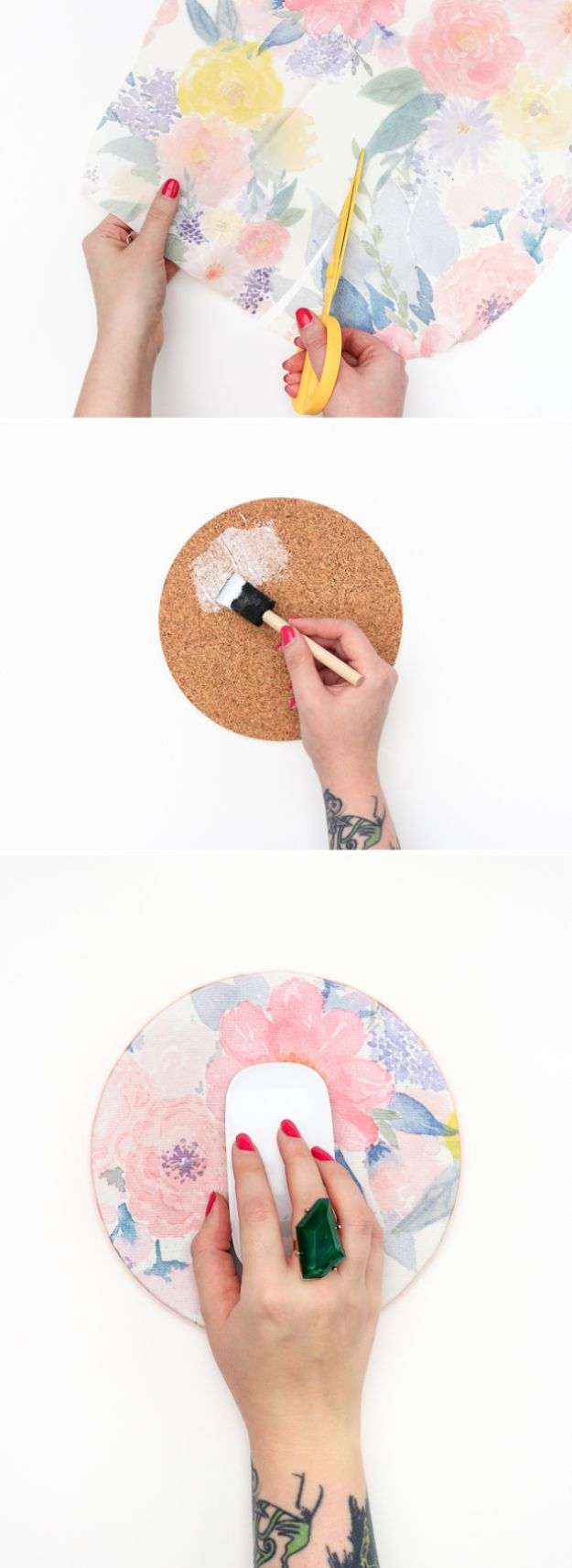 Easy Crafts for Teens - DIY Floral Mouse Pad - Cheap and Easy DIY Projects for Teenagers - Learn Basic Craft Techniques and Tutorials for Learning The Basics for Do It Yourself Projects and Fun Crafts - Easy Step by Step Tutorials for Making Pom Poms, Using a Glue Gun, Painting How To and More - Cool Ideas for Teens, Teenagers and Adults - Cheap Arts and Crafts Ideas and Tips http://diyprojectsforteens.com/diy-skills-tutorials