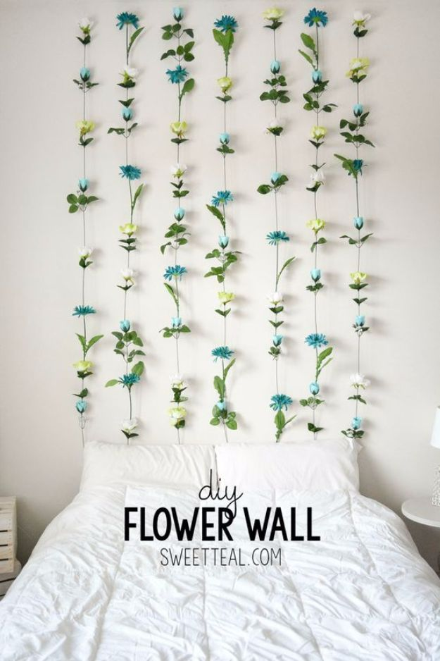 Best DIY Room Decor Ideas for Teens and Teenagers - DIY Flower Wall - Best Cool Crafts, Bedroom Accessories, Lighting, Wall Art, Creative Arts and Crafts Projects, Rugs, Pillows, Curtains, Lamps and Lights - Easy and Cheap Do It Yourself Ideas for Teen Bedrooms and Play Rooms #teencrafts #diydecor #roomideas #teenrooms #teendecor #diyideas