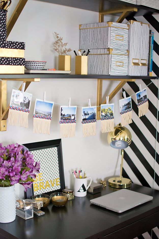 Best DIY Room Decor Ideas for Teens and Teenagers - DIY Fringe Photo Garland - Best Cool Crafts, Bedroom Accessories, Lighting, Wall Art, Creative Arts and Crafts Projects, Rugs, Pillows, Curtains, Lamps and Lights - Easy and Cheap Do It Yourself Ideas for Teen Bedrooms and Play Rooms #teencrafts #diydecor #roomideas #teenrooms #teendecor #diyideas