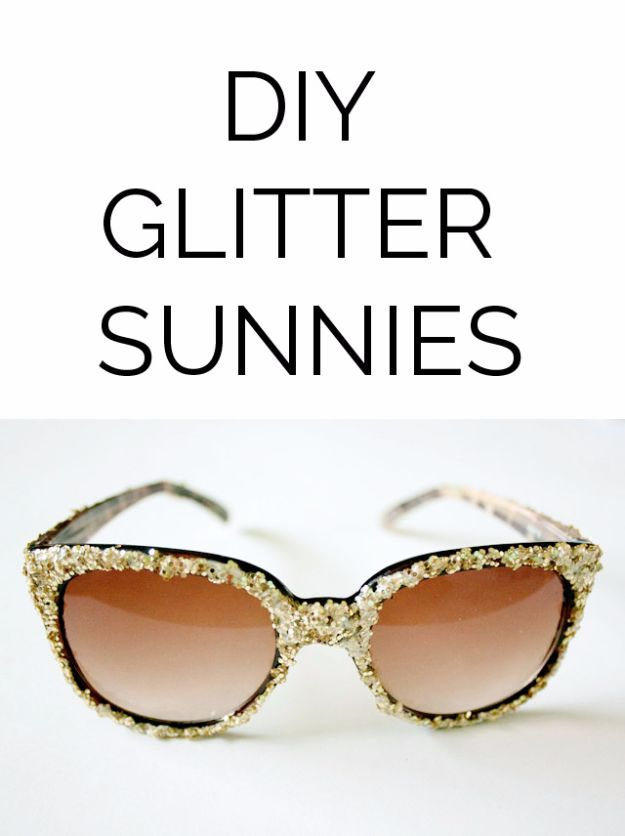 Easy Crafts for Teens - DIY Glitter Sunglasses - Cheap and Easy DIY Projects for Teenagers - Learn Basic Craft Techniques and Tutorials for Learning The Basics for Do It Yourself Projects and Fun Crafts - Easy Step by Step Tutorials for Making Pom Poms, Using a Glue Gun, Painting How To and More - Cool Ideas for Teens, Teenagers and Adults - Cheap Arts and Crafts Ideas and Tips http://diyprojectsforteens.com/diy-skills-tutorials