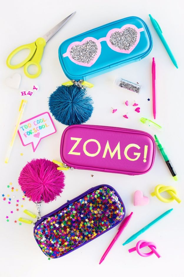 Best DIY Ideas for Teens To Make This Summer - DIY Glittery Graphic Pencil Cases - Fun and Easy Crafts, Room Decor, Toys and Craft Projects to Make And Sell - Cool Gifts for Friends, Awesome Things To Do When You Are Bored - Teenagers - Boys and Girls Love Making These Creative Projects With Step by Step Tutorials and Instructions #diyideas #summer #teencrafts #crafts