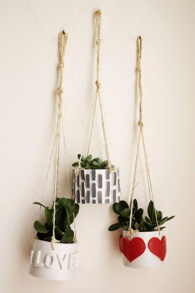Best DIY Room Decor Ideas for Teens and Teenagers - DIY Hanging Mini Planter - Best Cool Crafts, Bedroom Accessories, Lighting, Wall Art, Creative Arts and Crafts Projects, Rugs, Pillows, Curtains, Lamps and Lights - Easy and Cheap Do It Yourself Ideas for Teen Bedrooms and Play Rooms #teencrafts #diydecor #roomideas #teenrooms #teendecor #diyideas