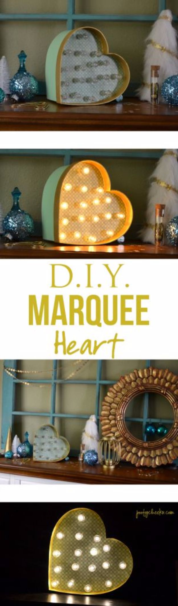 Best DIY Room Decor Ideas for Teens and Teenagers - DIY Heart Marquee Light - Best Cool Crafts, Bedroom Accessories, Lighting, Wall Art, Creative Arts and Crafts Projects, Rugs, Pillows, Curtains, Lamps and Lights - Easy and Cheap Do It Yourself Ideas for Teen Bedrooms and Play Rooms #teencrafts #diydecor #roomideas #teenrooms #teendecor #diyideas